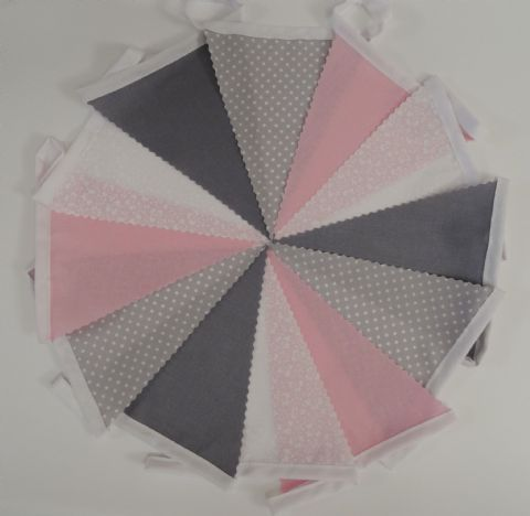 BUNTING Dark Grey, Pink & White in Plain, Printed Floral & Spot - 3m/10ft or 5m/16ft
